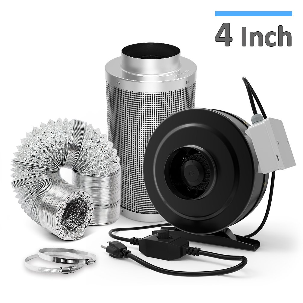 Ventilation Combo - 4 Inch Carbon Filter & 4 Inch 200 CFM Inline Duct Fan w/ Leather Sheath and Speed Controller & 25ft Air Ducting w/ 2 Clamps - HVAC Combo for Grow Tent