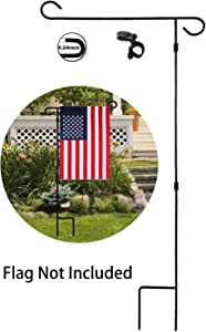 "HOOSUN Garden Flag Stand Holder Pole Easy to Install Strong Sturdy Wrought Iron Fits 12.5"" x 18"" Mini Flag with 1 Tiger Anti-Wind Clip Curved Hook with S Type Without Flag"