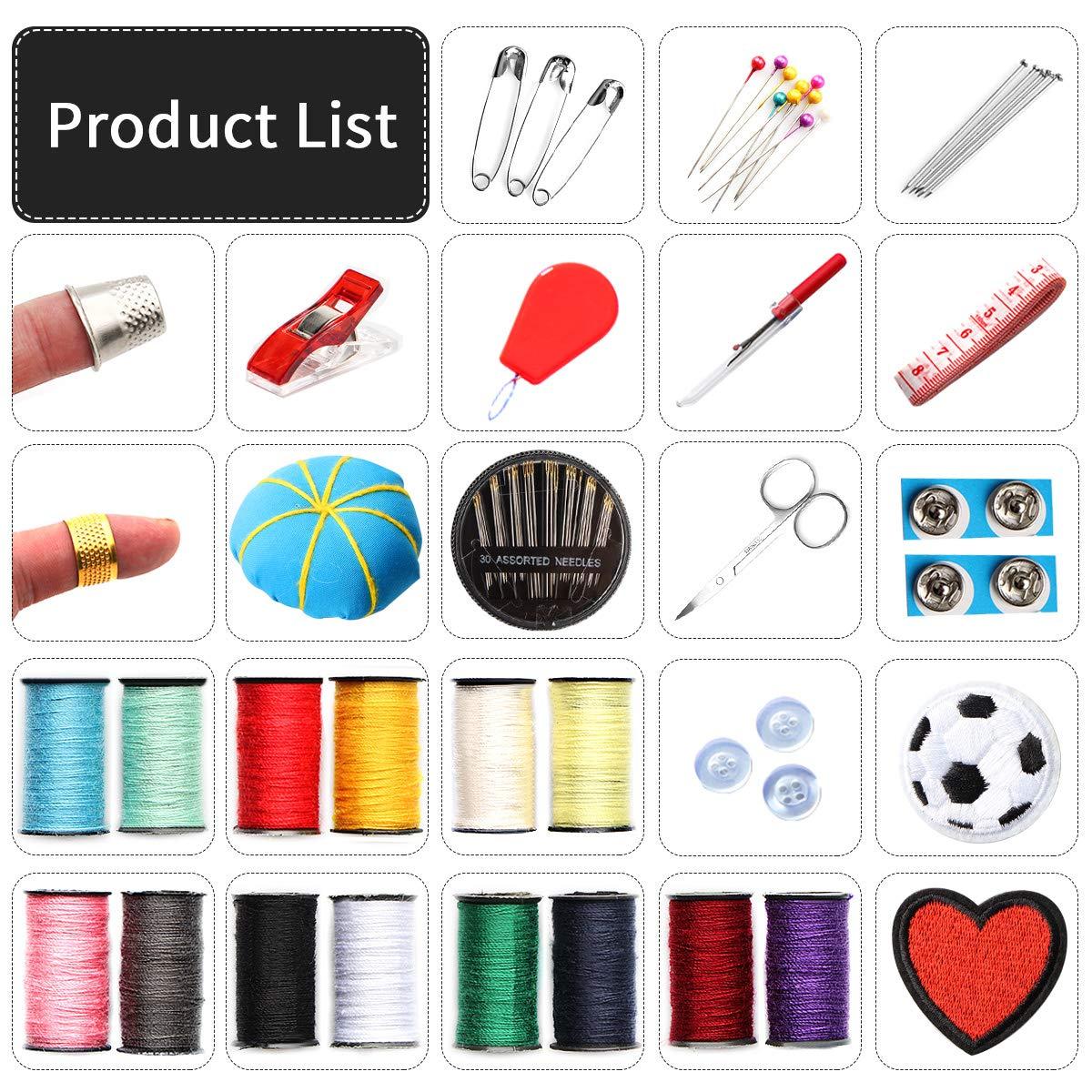 Kit de costura Accesorios de costura premium con 73 piezas Accesorios Costura DIY con Tijeras Dedos,Hilos 30 Agujas de Coser Kit de Costura de viaje