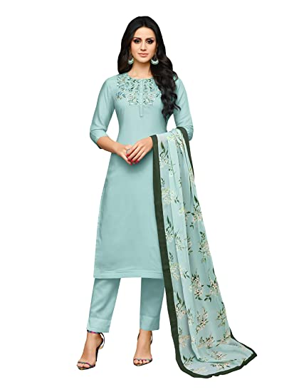 86b2631ae2 AKHILAM Women's Embroidered Muslin Silk Semi-Stitched Salwar Suit Salwar  Suit Material with Nazneen Dupatta (Blue_3DIAN049): Amazon.in: Clothing &  ...