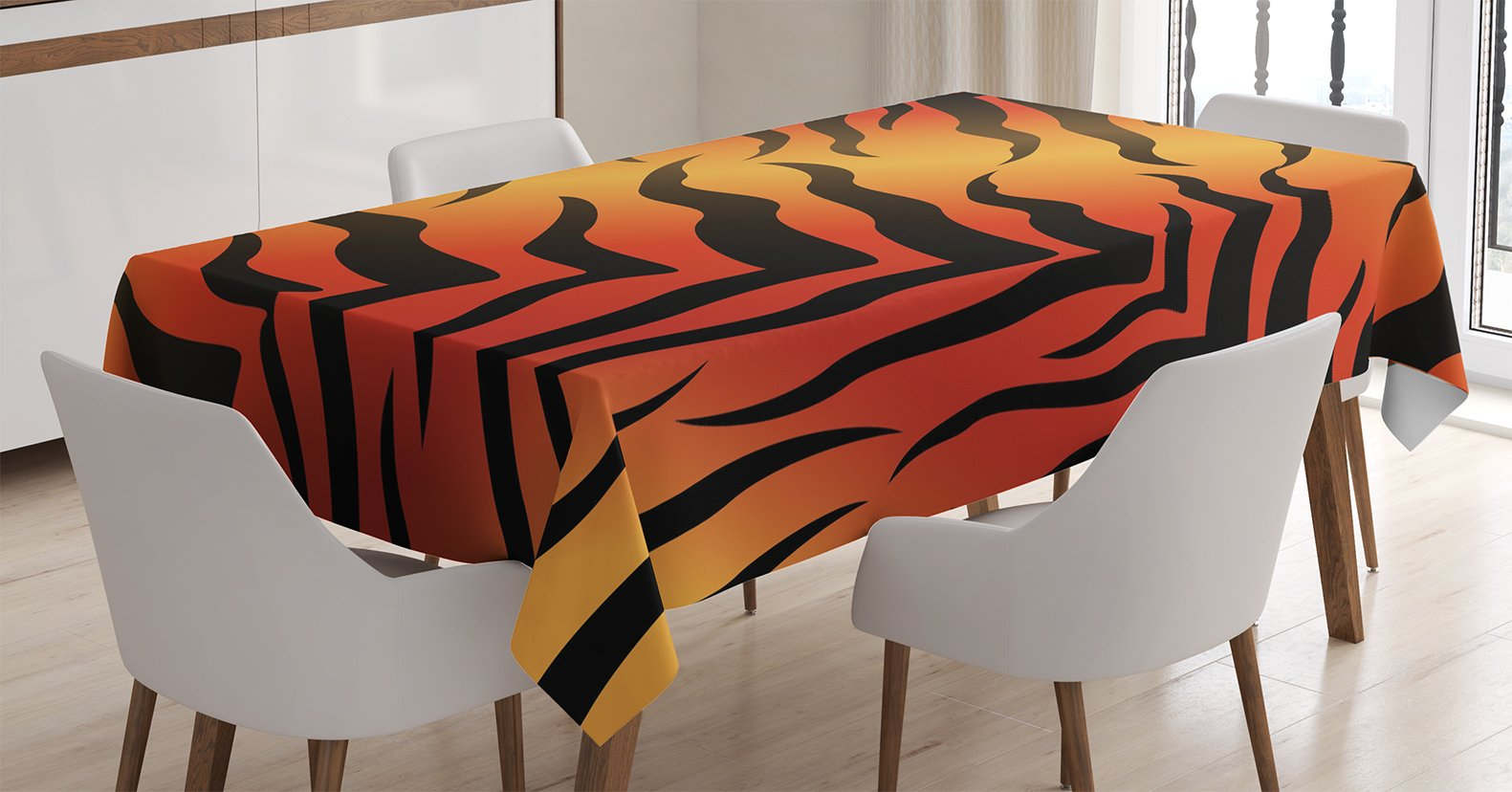 Ambesonne Animal Print Decor Tablecloth, Abstract Tiger Skin Pattern Wildlife Nature Themed Fashionable Illustration, Rectangular Table Cover for Dining Room Kitchen, 60x84 Inches, Red yellow Black