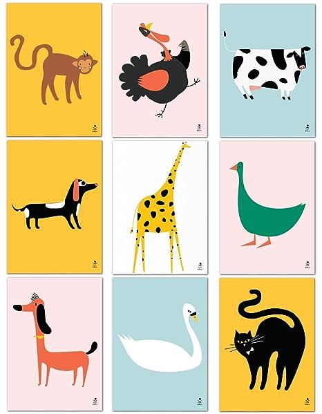 Love & Smile® I 9er Set Poster Kinderzimmer I lustige Bunte Tiere I Deko  Mädchen Jungen I DIN A4 Bilder ohne Rahmen