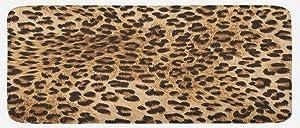 "Ambesonne Leopard Print Kitchen Mat, Skin Pattern of a Wild Safari Animal Powerful Panthera Big Cat, Plush Decorative Kitchen Mat with Non Slip Backing, 47"" X 19"", Brown Beige"