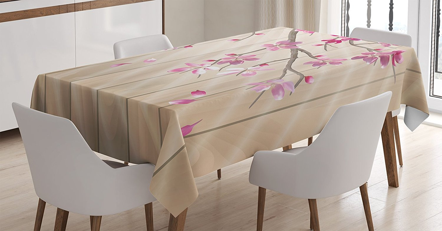 Dining Room Kitchen Rectangular Table Cover 60 W X 90 L Inches Ambesonne Nautical Tablecloth Blue and Grey tc/_27191/_60x90 Anchor with Marine Rope on Digital Print of Wooden Planks Sea Ocean Life Theme