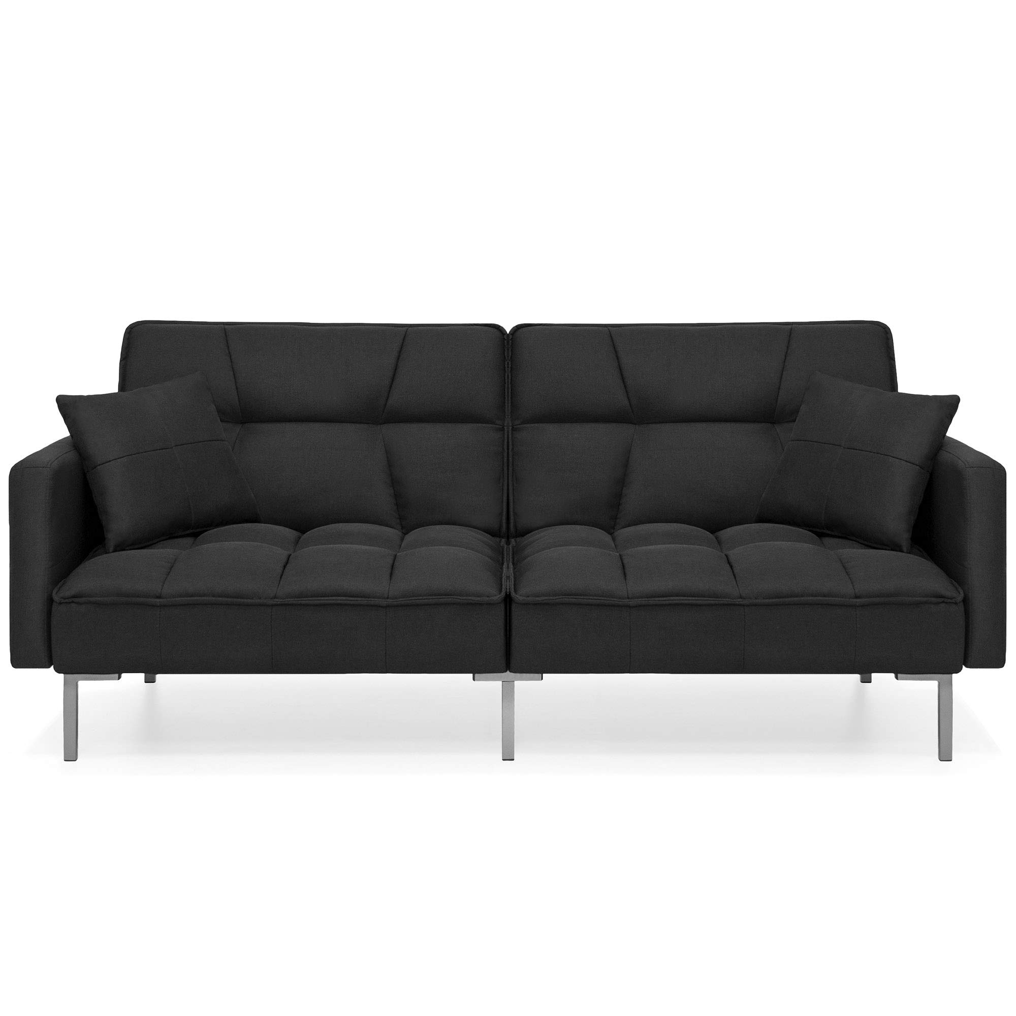 Best Choice Products Living Room Convertible Linen Fabric Tufted Splitback Sleeper Plush Futon Couch Furniture w/ Pillows - Black by Best Choice Products