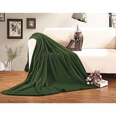 Elegant Comfort Micro Fleece Ultra Plush Luxury Solid Blanket, King/California King, Green