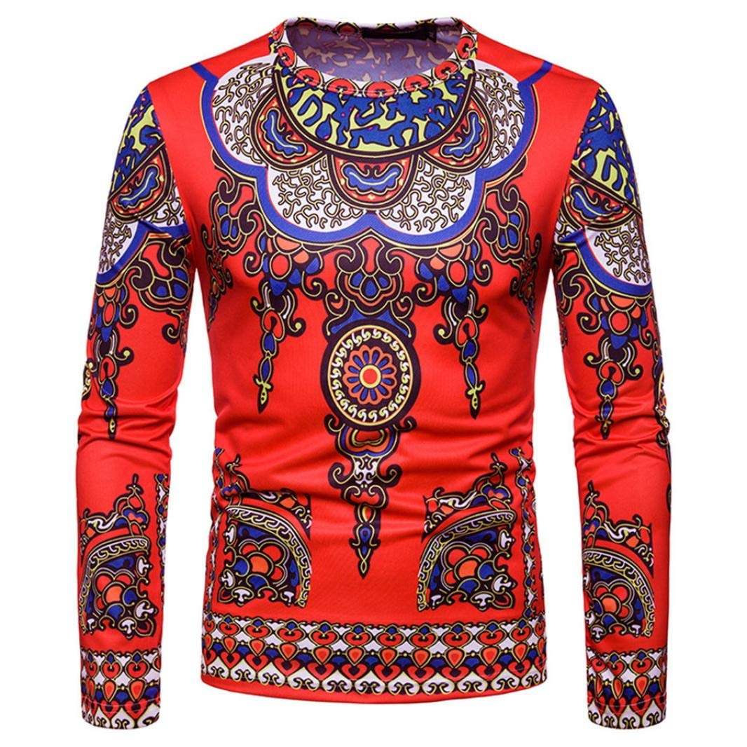 Usstore Men's T-Shirt, Tribal Dashiki Pullover Print Tops Long Sleeve Casual Blouse Usstore Men' s T-Shirt