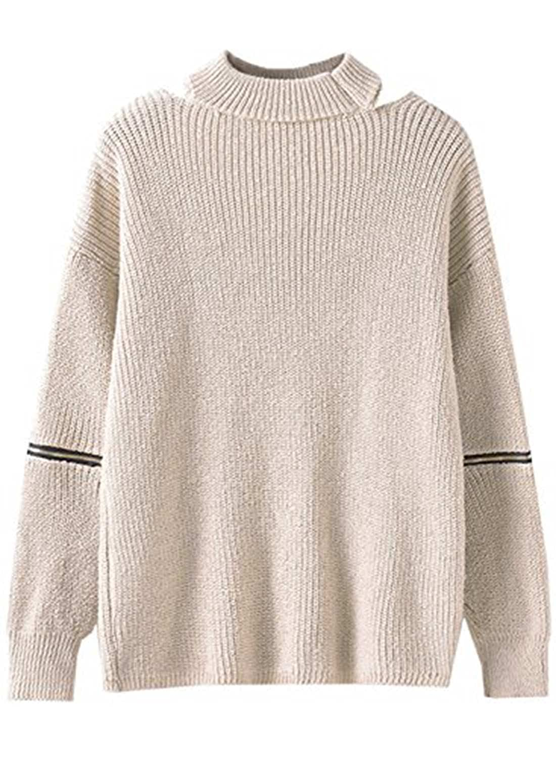 9fccb2c243 Futurino Women s Solid Choker V Neck Long Sleeve Loose Knit Sweater Jumper  Top Beige OneSize at Amazon Women s Clothing store