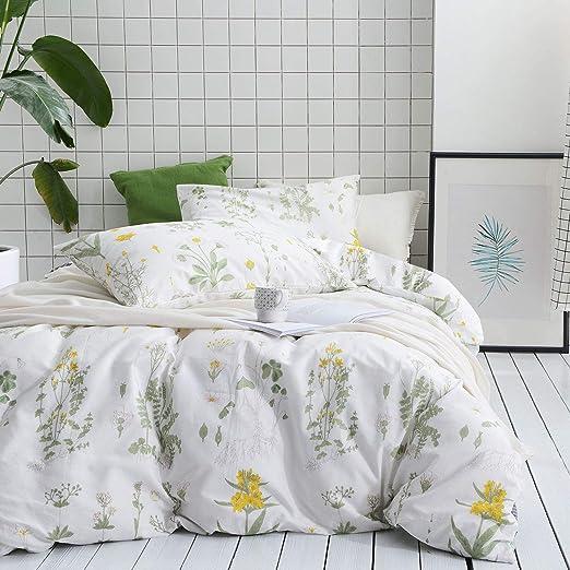 Amazon Com Wake In Cloud Botanical Duvet Cover Set 100 Cotton