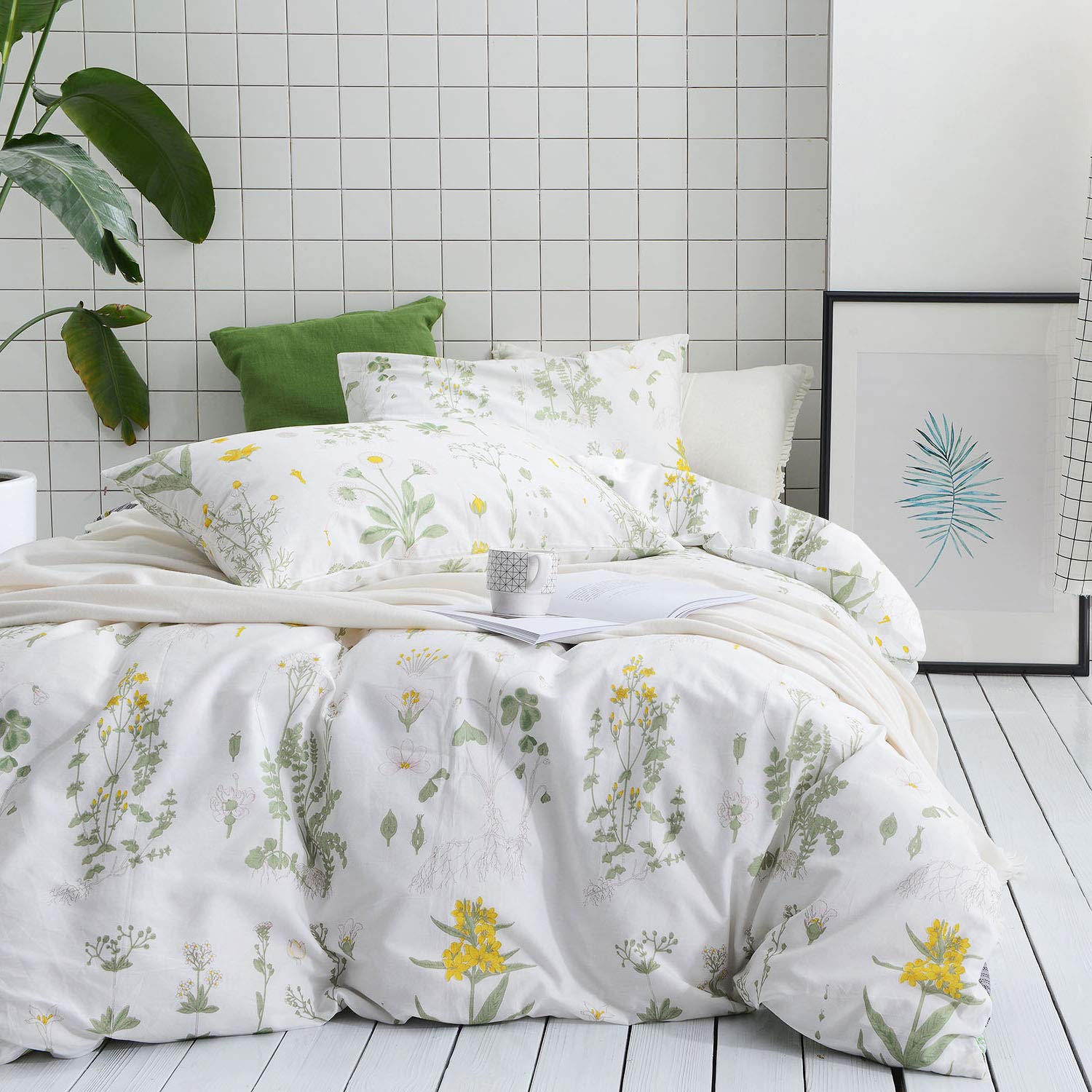Wake In Cloud - Botanical Duvet Cover Set, 100% Cotton Bedding, Yellow Flowers and Green Leaves Floral Garden Pattern Printed on White (3pcs, Full Size)