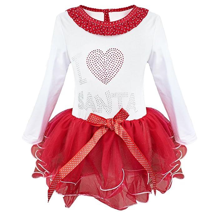 iEFiEL Vestido de Navidad Fiesta para Niña Manga Larga Vestido Infantil de Princesa Invierno Blanco y