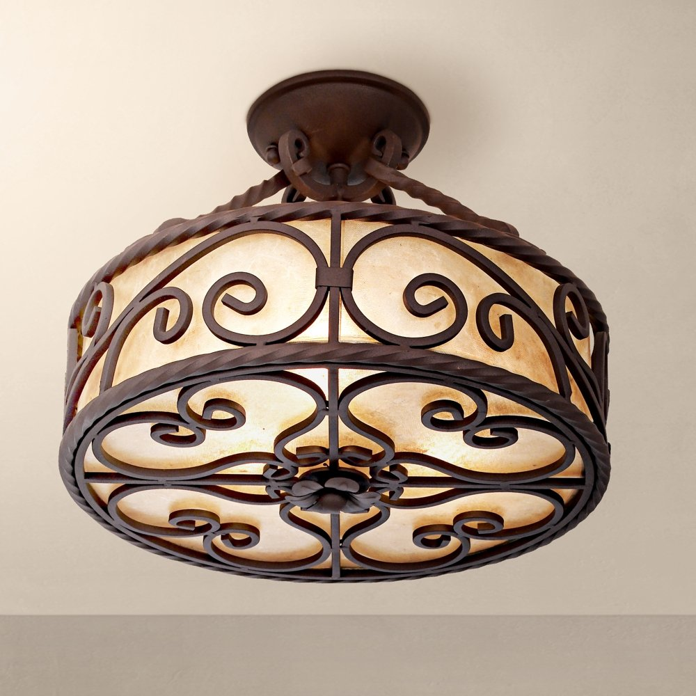 Natural mica collection 15 wide iron ceiling light fixture natural mica collection 15 wide iron ceiling light fixture ceiling pendant fixtures amazon arubaitofo Choice Image
