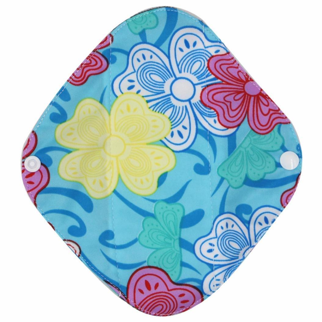 DEESEE(TM) Reusable Bamboo Cloth Washable Menstrual Pad Mama Sanitary Towel Pad (S, Sky blue) by DEESEE(TM) (Image #2)