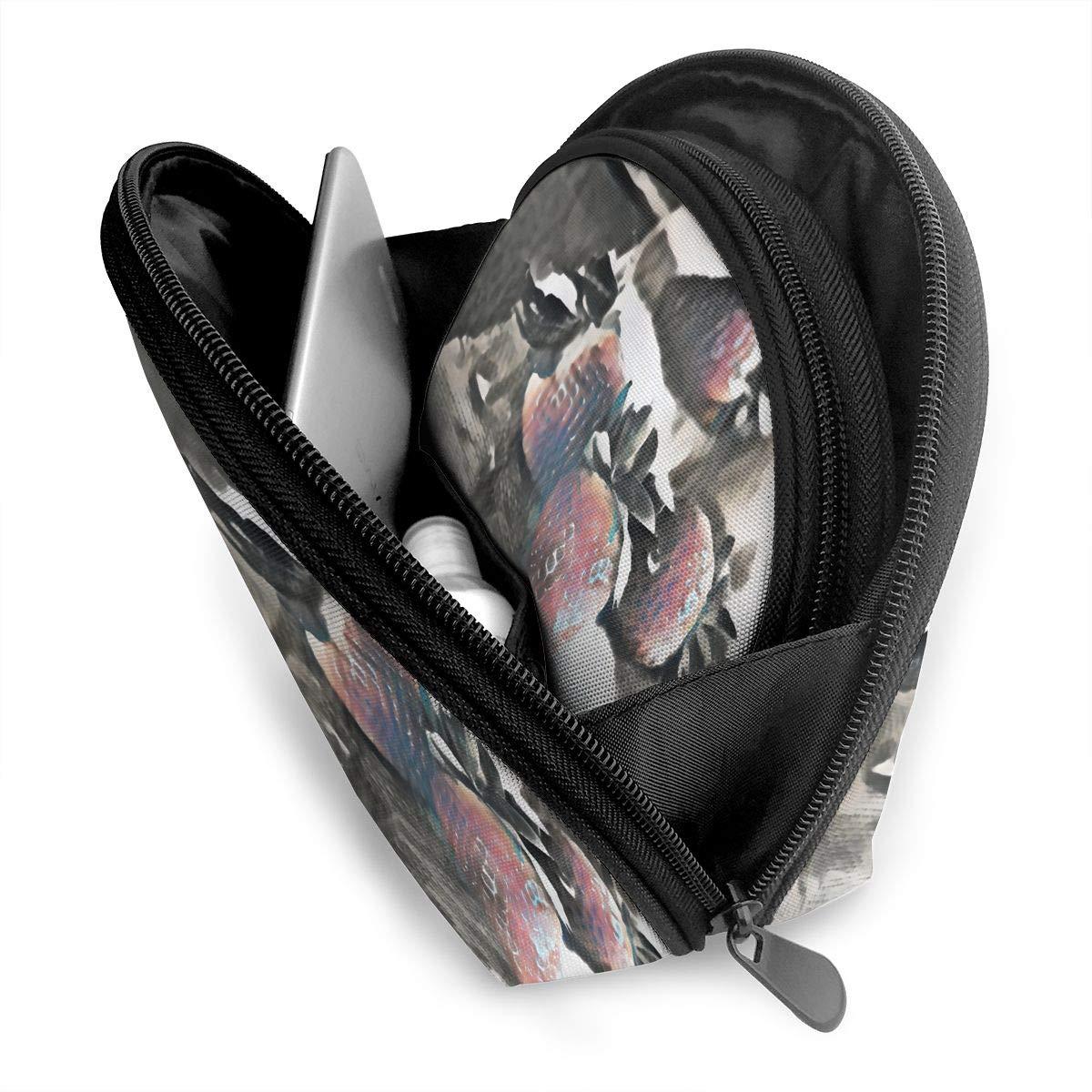 HJDKFIW Personalized Strawberries Womens Shell Shape Carrying Case Organizer Bag Gift 2Pcs
