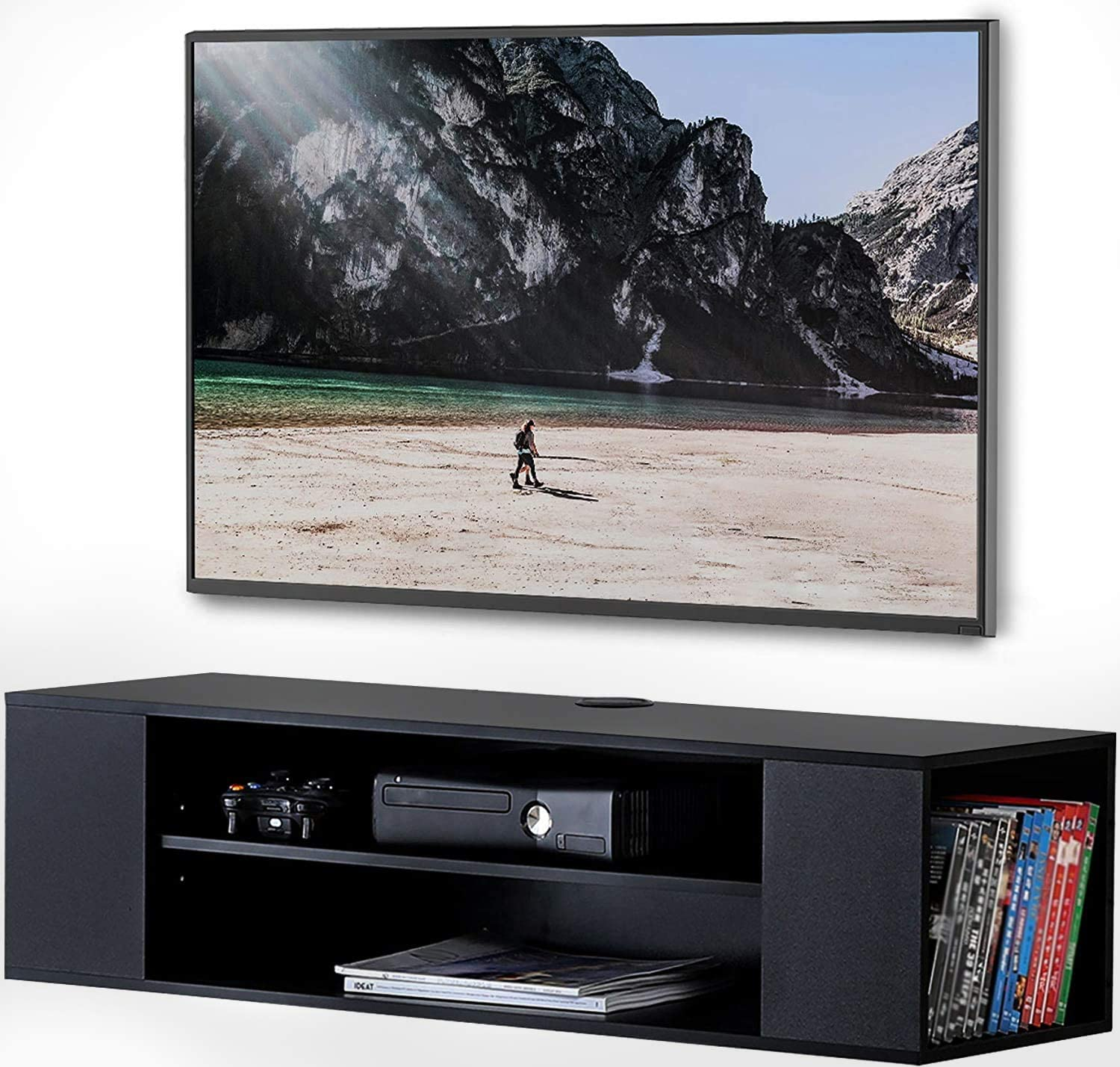 TV Stand Wall Mounted Media Audio//Video Console Shelf AV Entertainment Center