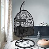 Action Club Egg Chair with Stand Indoor Outdoor Patio Wicker Hanging Swing Chair with UV Resistant Tufted Cushion Hammock Por