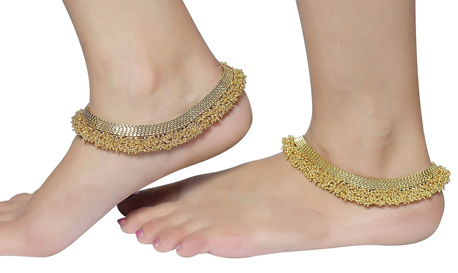 Muchmore Gold Brass Gold Plated Polki Anklet For Women: Muchmore ...