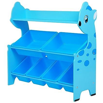 SONGMICS Estantería para juguetes en forma de animal con 6 Cajas y 1 estante Estantería infantil