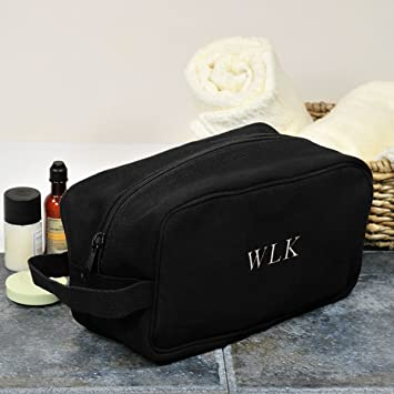 34b3c2aa30a8 Amazon.com : Black Canvas Travel Toiletry Bag with Name Personalized ...