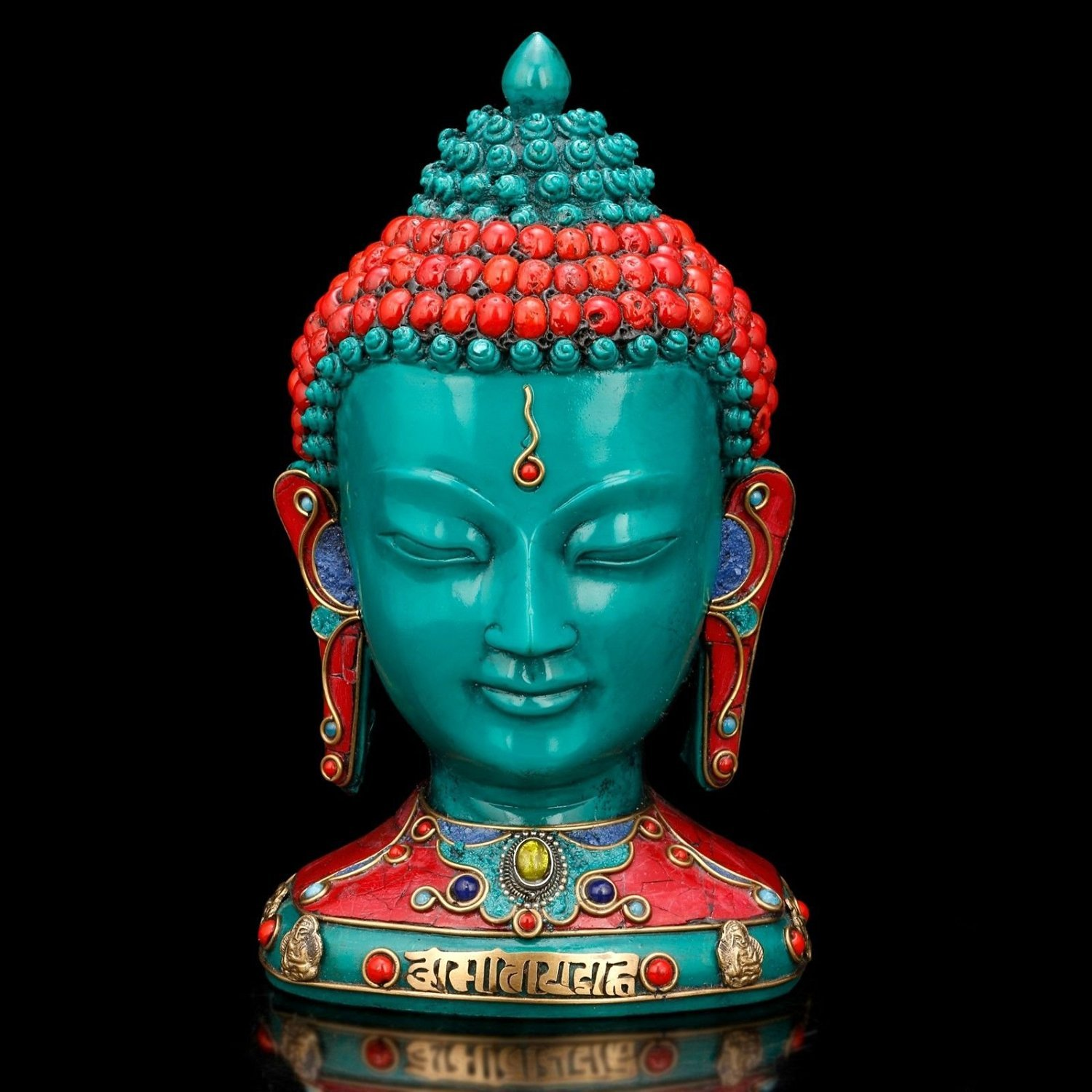 AapnoCraft Thai Buddha Bust Statue Nepali Handmade Buddha Head Sculpture Colourful Statue Of Shakyamuni Buddha Face