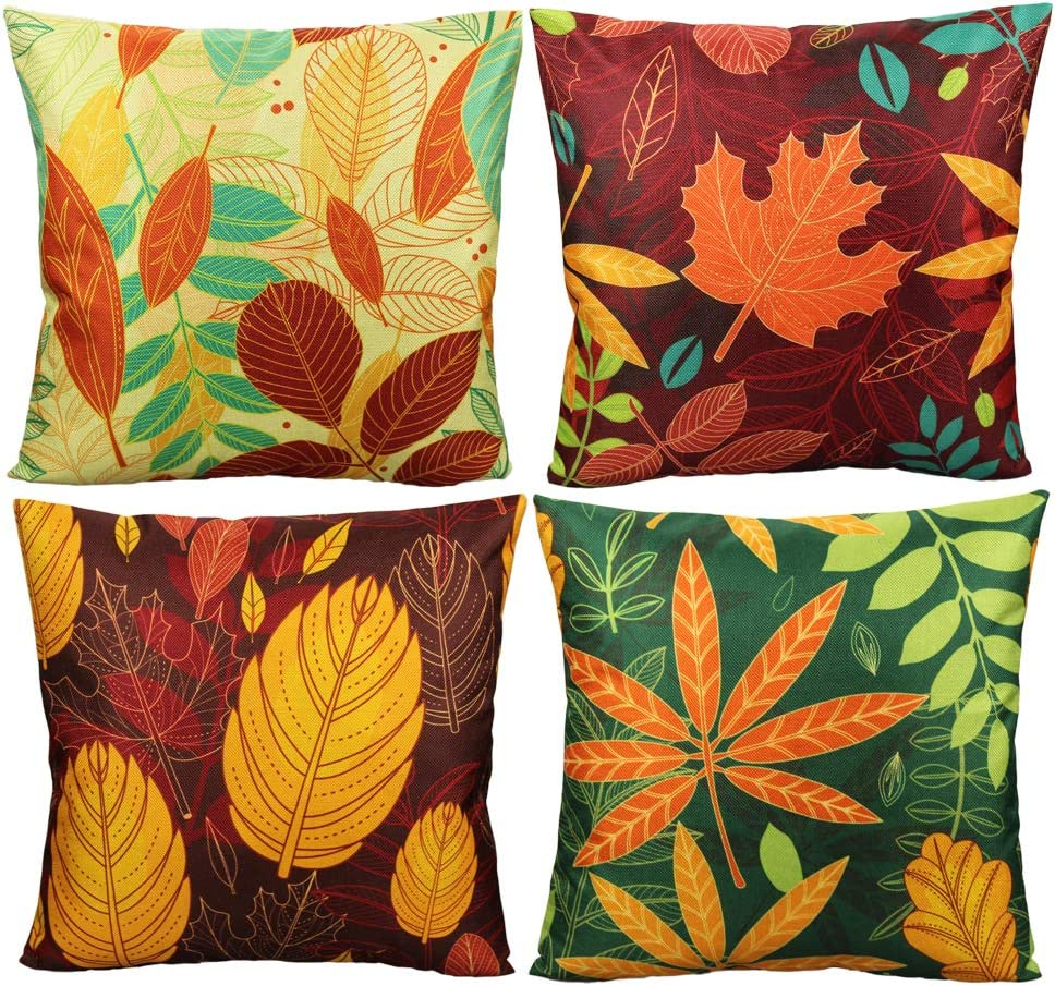 All Smiles Fall Home Décor Throw Pillow Covers Thanksgiving Decorations Outdoor Famhouse Autumn Maple Leaves Cushion Cases 18