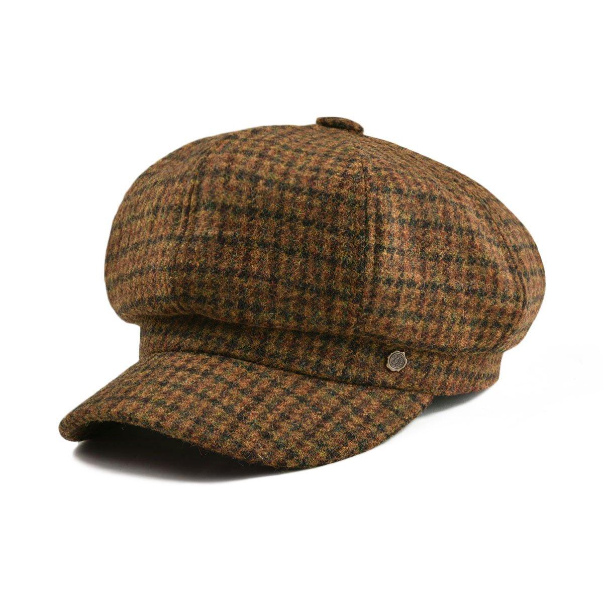 VOBOOM Womens Visor Beret Newsboy Hat Cap for Ladies 100% Wool Tweed (Brown) by VOBOOM