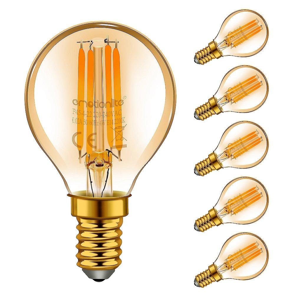 Emotionlite E14 LED Lampe, LED Filament Glühlampen, 4W (40W Equivalent), E14 Kerzenleuchter Basis, warmes Weiß Glühen, 2700K, 6 Stück