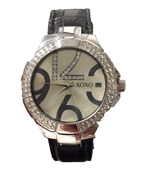 La mujer XOXO xo3315 plata Dial Negro Correa reloj con diamantes de imitación bisel: Amazon.es: Relojes