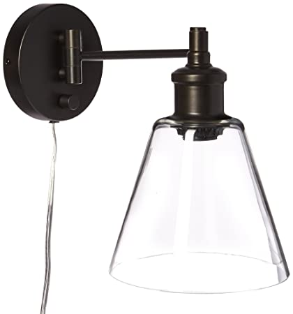 Globe Electric LeClair 1 Light Plug In Or Hardwire Industrial Wall Sconce Dark
