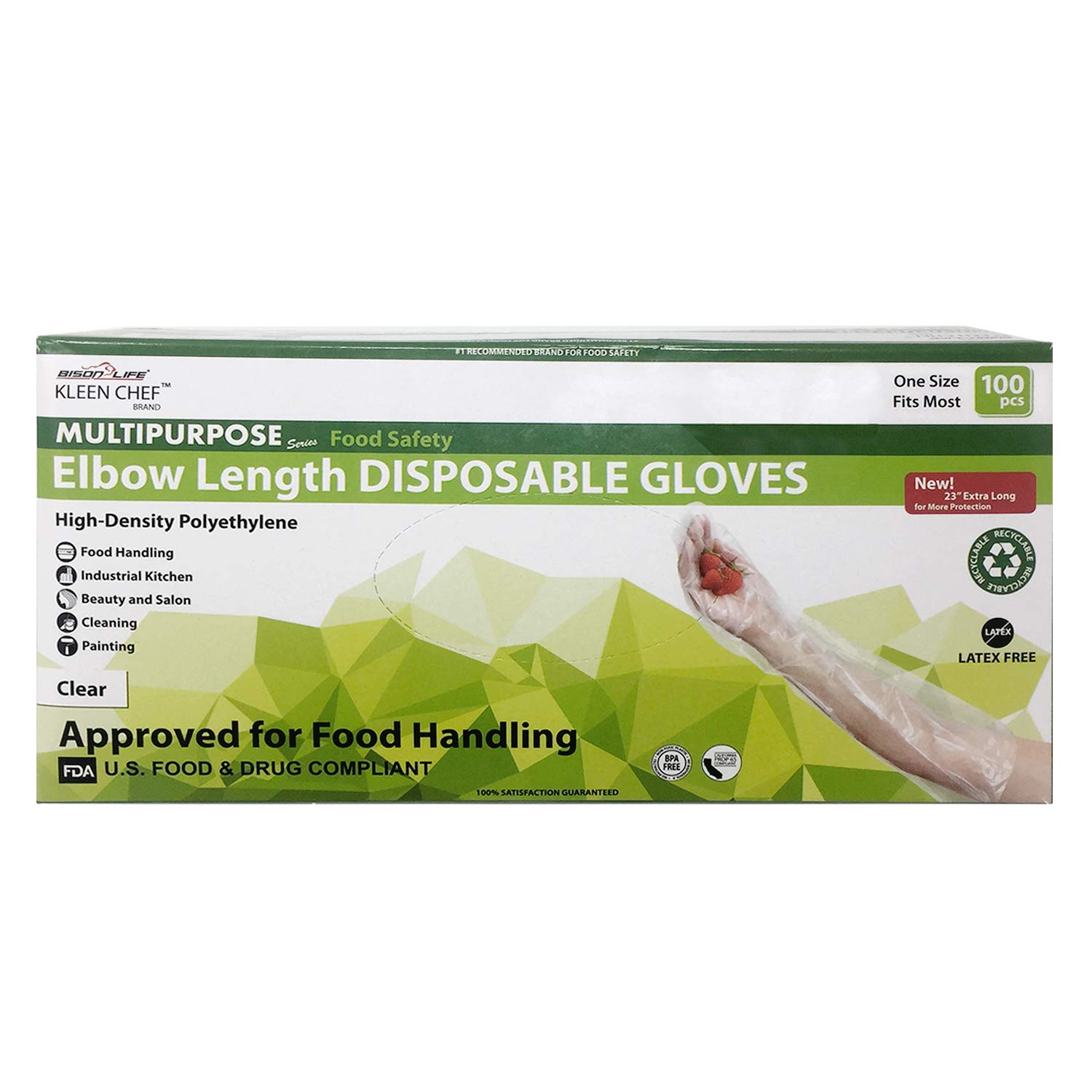 Disposable Food Handling Elbow Length Poly Gloves - One Size Fits Most, 100 per box (1 box) by KLEEN CHEF (Image #5)