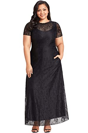 Foryingni Womens Plus Size Floral Lace Short Sleeve Empire Waist