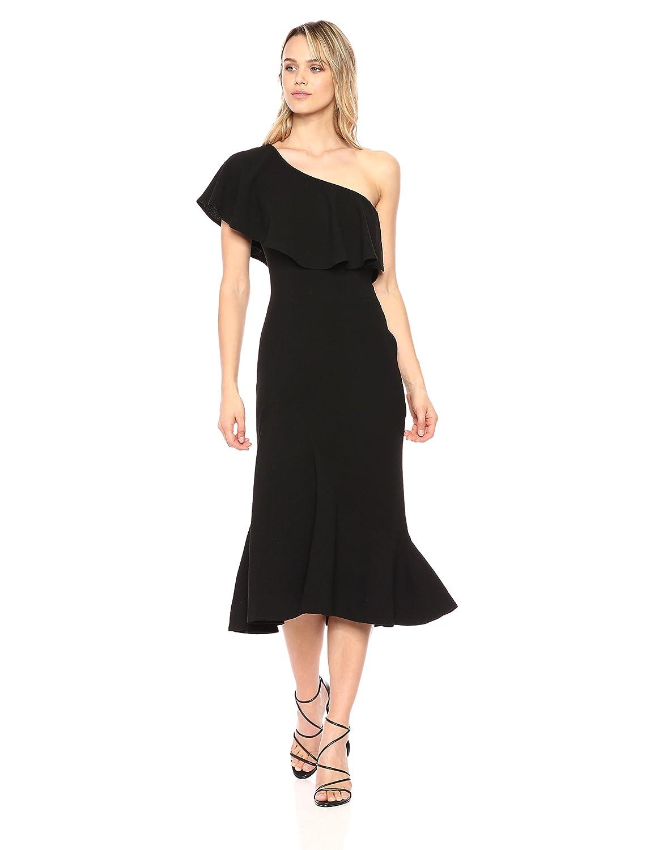 Black Dress the Population Women's Raquel One Shoulder Ruffle Mermaid Midi Dress