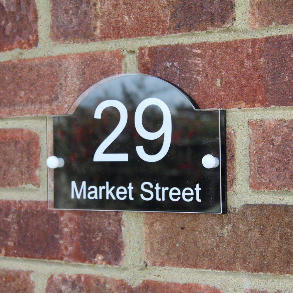 House number sign address plaque modern with door number amazon co uk kitchen home
