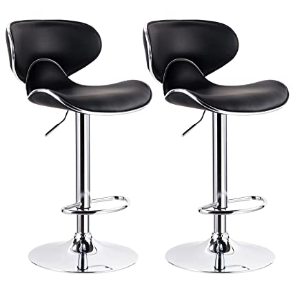 WOLTU Contemporary Black Bar Stools Adjustable Synthetic Leather Seat And  Back Swivel Hydraulic Upholstered Kitchen Stools
