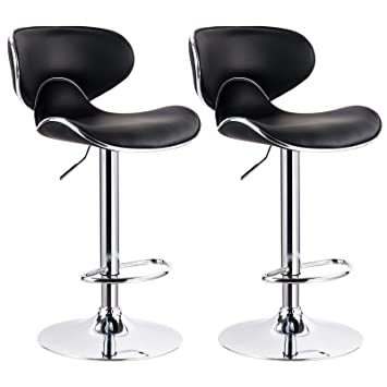 woltu black bar stools adjustable synthetic leather seat and back swivel hydraulic upholstered kitchen stools
