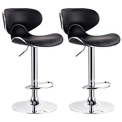 WOLTU Contemporary Black Bar Stools Adjustable Synthetic Leather Seat and Back Swivel Hydraulic upholstered Kitchen Stools  sc 1 st  Amazon.com & Amazon.com: WOLTU Contemporary Black Bar Stools Adjustable ... islam-shia.org