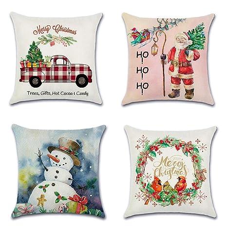 Artscope Funda de Cojín 45x45cm Navidad,Funda de Almohada para Cojín Cuadrado Algodón Lino para Sofá Cama Hogar Decorativo para Navidad Christmas,Set ...