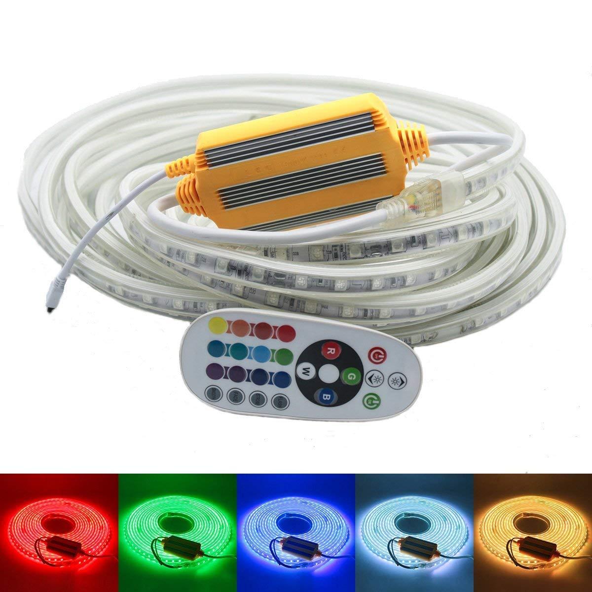 DUVERT 230V LED Band, RGB mehrfarbig Strip, IP68 Wasserdicht Lichtband, 5050 SMD 60LEDs pro Meter, Helle Streifen mit 24 Keys Fernbedienung für Innen   Außen Hochzeit Weihnachten Dekolicht [RGB, 25m]
