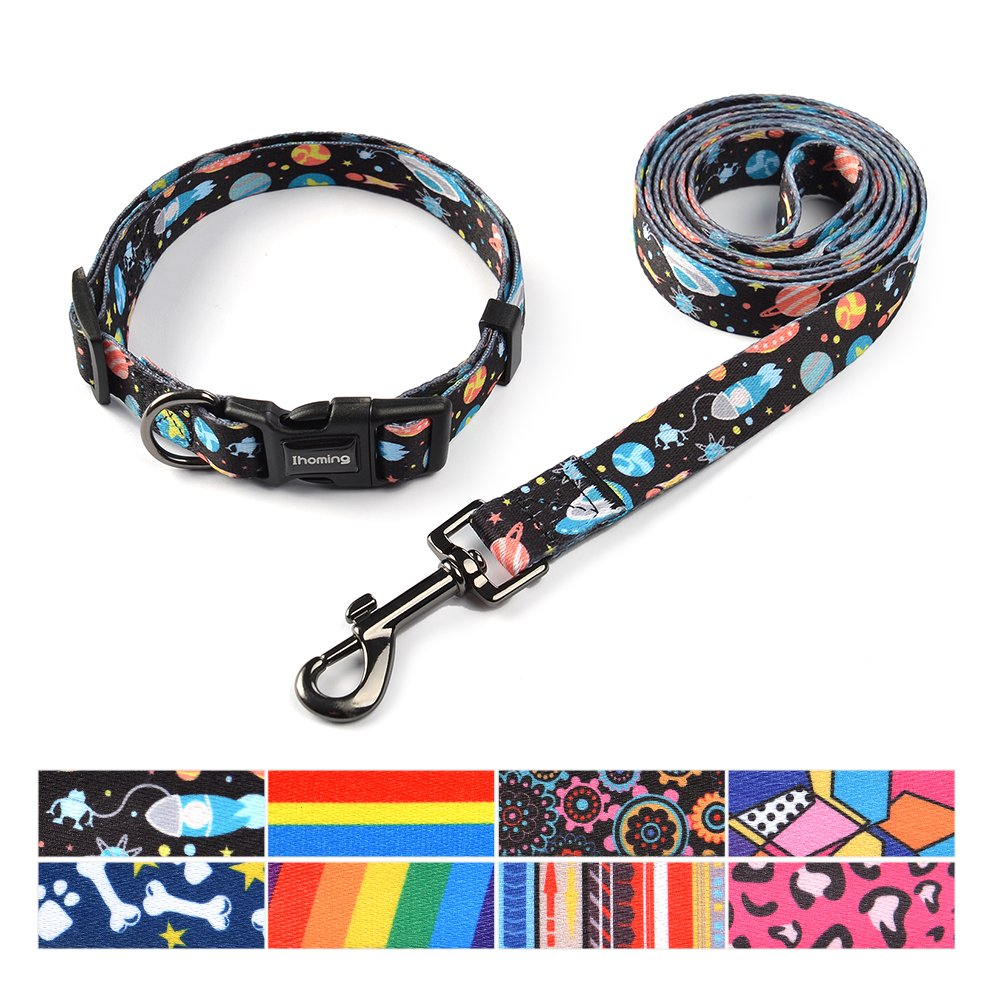 Space S-Up to 20 LBS Space S-Up to 20 LBS Ihoming Pet Collar Leash Set Combo Safety Set for Daily Outdoor Walking Running Training Small Medium Large Dogs Cats