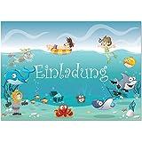 12 Einladungskarten Im Set Zum Kindergeburtstag Mit Motiv Ozean,  Unterwasserwelt, Schwimmbad, Freibad,