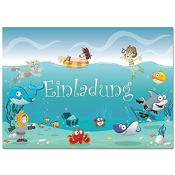 12 Einladungskarten im Set Zum Geburtstag / Kindergeburtstag mit ...