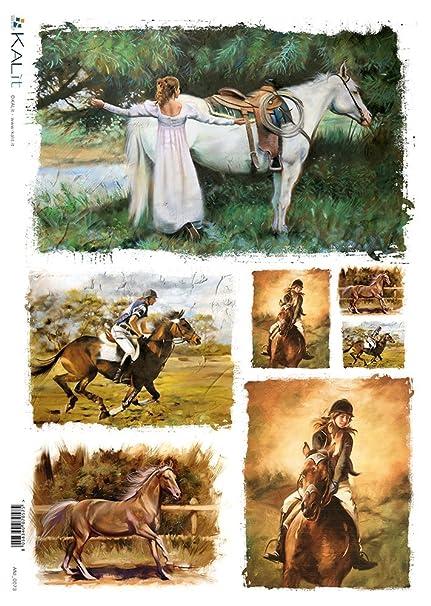 Creativepaper Carta di Riso Decoupage: Cavalli - cm.22x32: Amazon.it ...