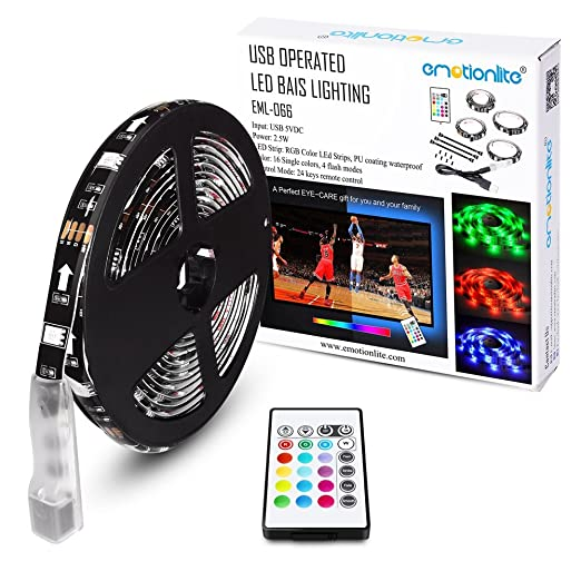Emotionlite Bias Lighting Strip Led Tv Backlight Strip Multi Color Rgb Tape Color Changed With 24keys Remote Control For 32 To 60 Flat Screen Hdtv