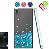 Sony Xperia XA Ultra/Xperia C6 Case with HD Screen Protector, Atump [Love Heart Series] Luxury Girls Liquid Glitter Bling Soft TPU Sparkly Shockproof Protective Cover Shell for Xperia C6 Blue