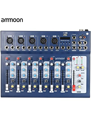 ammoon 7 Canales Línea Mic Digital Audio Sonido Consola de Mezcla del Mezclador con Entrada USB