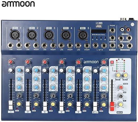 ammoon 7 Canales Línea Mic Digital Audio Sonido Consola de Mezcla del Mezclador con Entrada USB 48V Poder Fantasma 3 Bandas de Ecualización para la Grabación de DJ Etapa Karaoke Apreciación Musical: