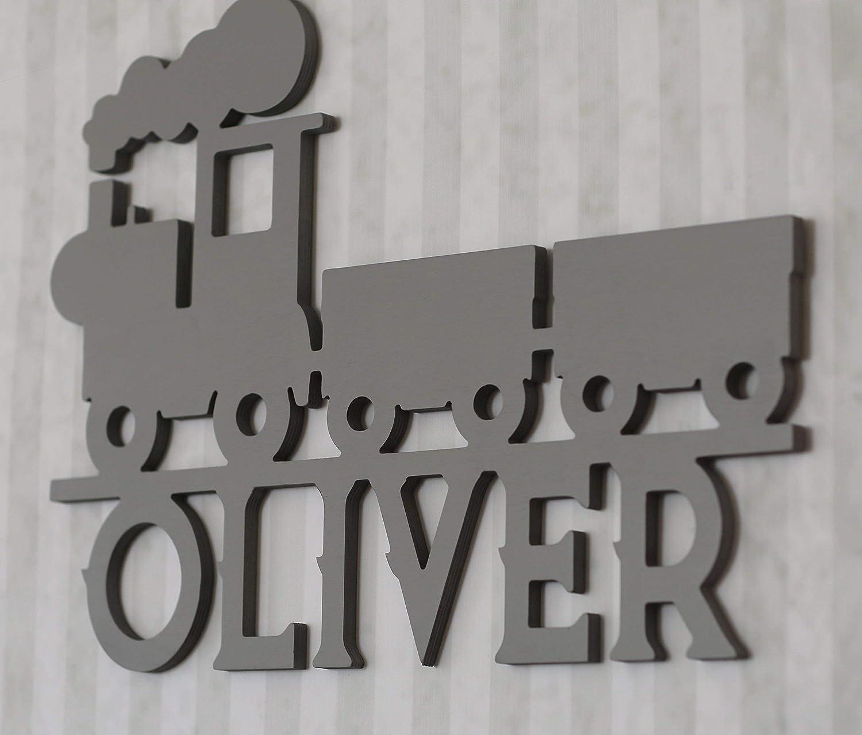 Elias Wagon Sign Wooden Birth Christening Decoration Buchstabenzug Locomotive