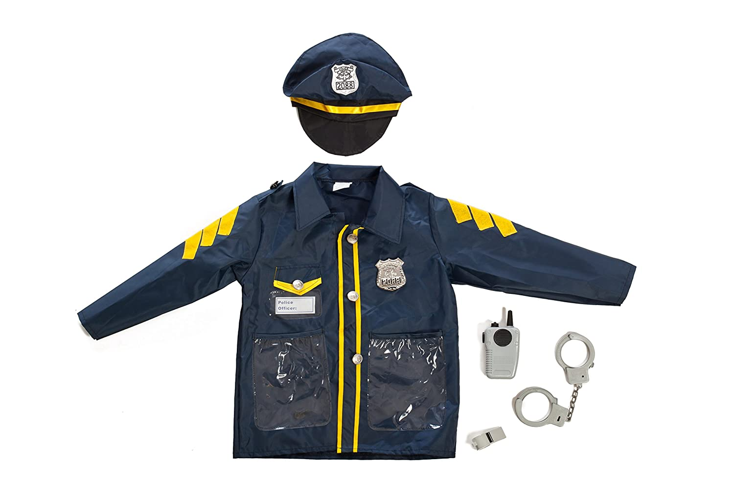 Set of 3 Rescue Costumes Fireman Police /& Doctor with Hats /& Over 15 Accessories