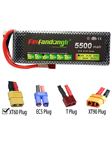 FLOUREON 4S 14.8V 5500mAh 35C LiPo Battery Pack for RC Car Truck Boat Helicopter