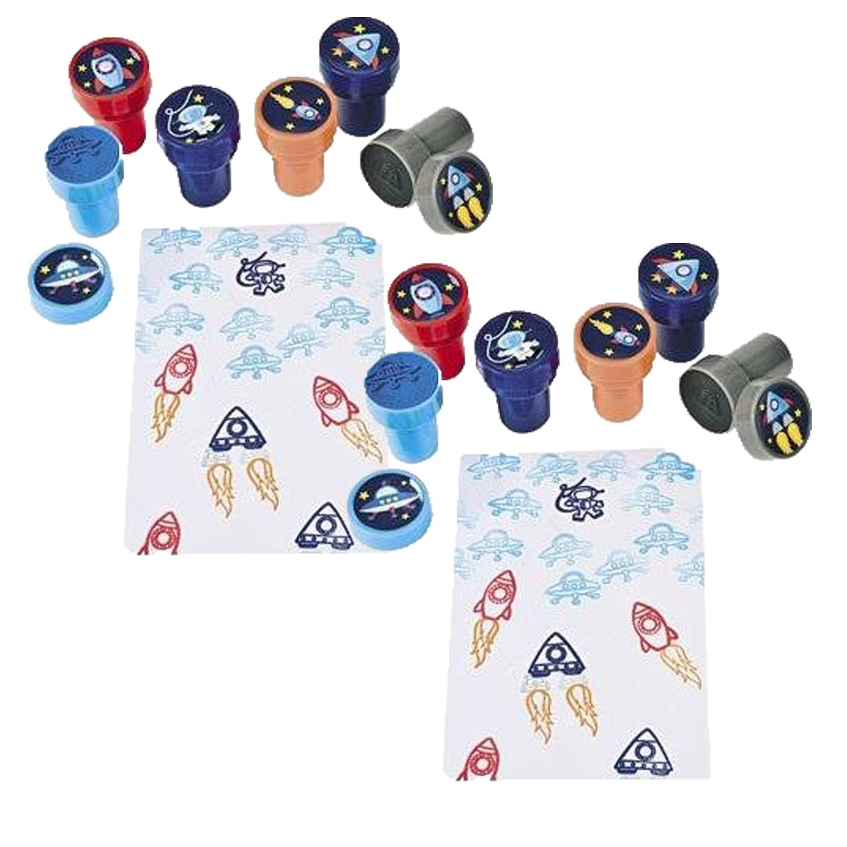 Fun Express Make-A-Spaceship Stampers, Teacher Resources & Stampers & Stamp Pads, 8 packs of 6
